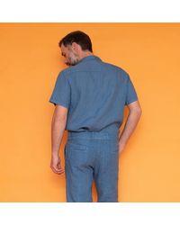 Haris Cotton Short Sleeved Front Pocket Linen Shirt - Blue