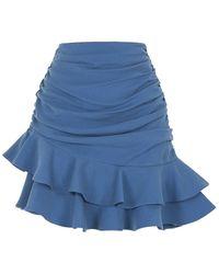 Nocturne Flounced Mini Skirt-indigo - Blue