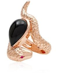 Alexandra Alberta | Arizona Black Rose Snake Ring | Lyst