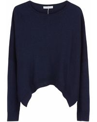 ILLE DE COCOS - Merino Cropped Sweater Navy & Light Grey - Lyst