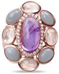 Bellus Domina Angelite And Amethyst Flower Ring - Multicolor