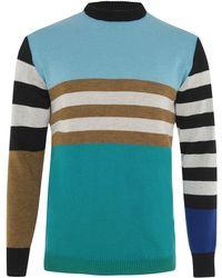 INGMARSON - Colour Block Striped Jumper Blue Men - Lyst