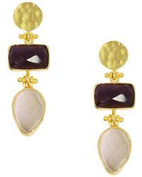 Ottoman Hands - Trilogy Tear Amethyst And White Chalcedony Drop Earrings - Lyst