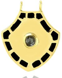 Artisan 14k Yellow Gold Natural Diamond Designer Pendant Handmade Jewellery - Metallic