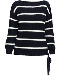 Rumour London Monaco Striped Cotton Jumper With Metal Eyelets In Midnight Blue