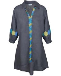 Haris Cotton Puff Sleeves Embroidered Trims Linen Tunic - Black