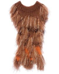 Claire Andrew - Red Brown Shaggy Knit Top - Lyst
