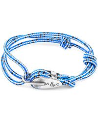 Anchor & Crew - Blue Dash Tyne Silver & Rope Bracelet - Lyst