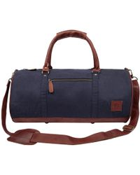 MAHI - Gym Duffle In Navy Canvas And Brown Leather - Lyst