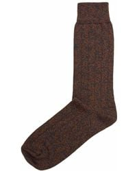 40 Colori - Rust Melange Thick Ribbed Organic Cotton Socks - Lyst
