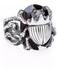 Yasmin Everley Little Scarab Cocktail Ring - Metallic