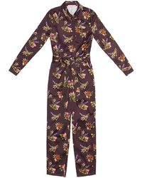 TOMCSANYI Ibolya Lame Flower Print Boiler Suit - Multicolour