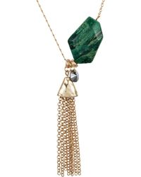 Nadia Minkoff - Yellow Gold Plated Malachite Nugget Necklace - Lyst
