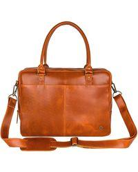 MAHI Buffalo Leather Oxford Zip-up Satchel Briefcase Bag In Tan - Brown