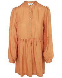 Haris Cotton Mini Linen-blend Dress With Front Buttons - Multicolour