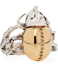 Yasmin Everley Gilded Rhino Beetle Ring - Metallic