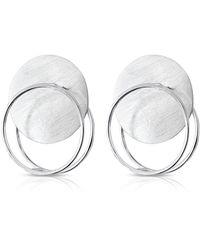 J.Y. GAO Eclipse Double Hoop Sterling Silver Statement Earrings - Metallic