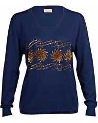 Asneh Sequin & Bead Embellished Krystle Cashmere Sweater In Blue