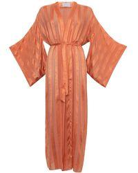 Roses Are Red Silk Kimono In Coral - Orange
