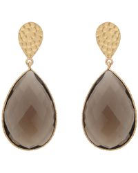 Carousel Jewels - Double Drop Smoky Quartz & Golden Nugget Earrings - Lyst