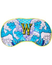 Jessica Russell Flint W For Waves Silk Eye Mask In Gift Box - Blue