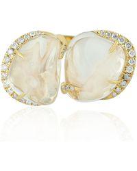 Artisan 18kt Yellow Gold Diamond Designer Cocktail Ring Opal - White