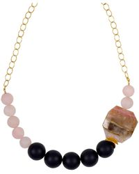 Magpie Rose Peruvian Pink Opal & Black Onyx Statement Necklace - Multicolor