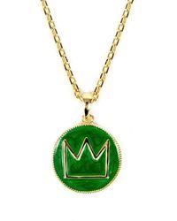 Serge Denimes Gold Plated Silver Green Enamel Crown Necklace - Metallic