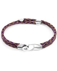 Anchor & Crew Deep Purple Conway Silver & Braided Leather Bracelet - Metallic