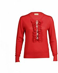 Asneh Red Grace Cashmere Sweater With Pearl Embellishment