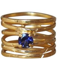 Elena Jewelry Concepts - Gold Wave Ring With Blue Iolite - Lyst