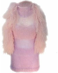 Claire Andrew | Fringed Mane Knit Vest With Swarovski Detail | Lyst