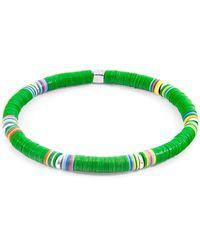 Anchor & Crew Green Nakuru Silver & Vinyl Disc Bracelet