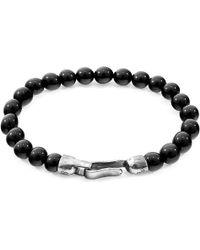 Anchor & Crew Silver & Black Onyx Stone Outrigger Bracelet - Metallic