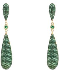 LÁTELITA London Coco Long Drop Earrings Emerald Green Cz