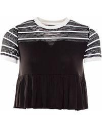 OKAYLA Black Stripe Mesh T-shirt With Frill