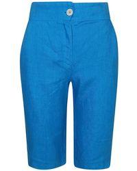 Haris Cotton Ribbed Back Waist Linen Bermuda - Blue