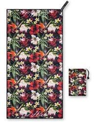 Drew Lennox Sapri Gym, Yoga & Travel Towel In Tropical Flowers - Multicolour