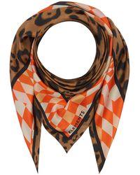 Klements Silk Scarf In Labyrnth & Jaguar Print - Multicolour