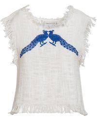 ADA KAMARA Peacock Blouse - White