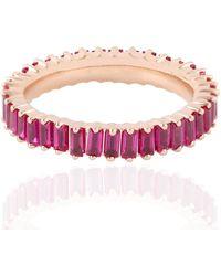 Artisan - 18kt Rose Gold Ruby Baguette Band Ring Women - Lyst