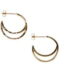 KIND - Gold Crescent Hoop Earrings - Lyst