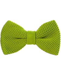 40 Colori Avocado Solid Silk Knitted Bow Tie - Green