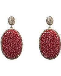 LÁTELITA London Stingray Pave Oval Earring Garnet - Multicolour