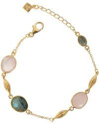 Juvi Designs - Gold Cocoa Pod Cozumel Bracelet With Rose Quartz & Labradorite - Lyst