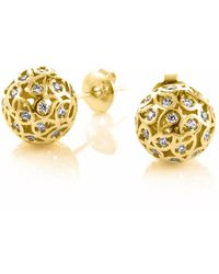 Sonal Bhaskaran - Svar Gold Sphere Earrings Clear Cz - Lyst