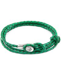 Anchor & Crew - Fern Green Dundee Silver & Braided Leather Bracelet - Lyst