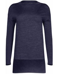 NY CHARISMA Navy Ribbed Neck Trim High-low Pullover - Blue