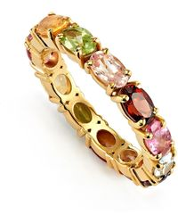 Kaizarin Rainbow Multi Colour Stone Eternity Ring - Metallic
