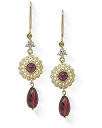 Vintouch Italy Filigrana Gold-plated Garnet Earrings - Red